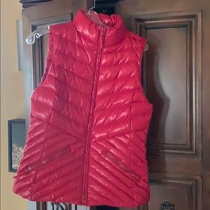 Red down puffer vest by Talbots